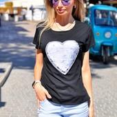Хит лета! Шикарная стильная женская футболка с двухсторонней пайеткой