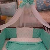 """Детское постельное белье , комплект 8 предметов """"мятный в горошек""""!"""