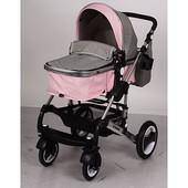 Детская универсальная коляска - книжка, El Camino серо-розовая (ME 1006-8-11 )