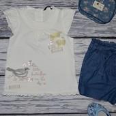 3 - 4 года 98 - 104 см Крутая фирменная футболочка для стильной девочки кружево принт