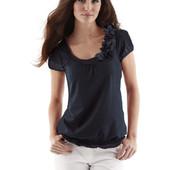 Блуза черная с цветами на резинке Promod бренд на M/L/XL