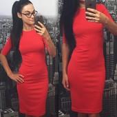 Платье-миди с коротким рукавом, большие размеры, 3 цвета