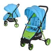 Детская прогулочная коляска Bambi M 3435-12 Prego, голубой с салатовым