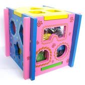 Деревянная игрушка-сортер Куб (цветной) Д014у Руди