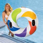 Яркий белый круг, водные игры и плавание, 58202, большого диаметра 122см, дополнительное удобство -