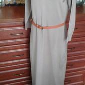 Incity бежевое демисезон трикотажное длинное платье в пол 50р