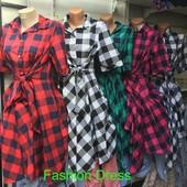 Женское платье в клетку 50-52 (2б