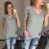 Женская футболка с разрезами Турция 42-44,44-46,46-48 (2б