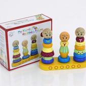 """Деревянная пирамидка """"Моя семейная радужная башня"""", Wooden toys (0491)"""