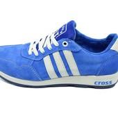 Кроссовки подростковые замша Cross Fit 30 Suede синие