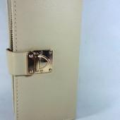 Уценка! Женский кошелек- мини клатч бежевого цвета