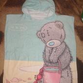 Красивенное полотенце пончо для пляжа С мишкой Me Too You.Новое