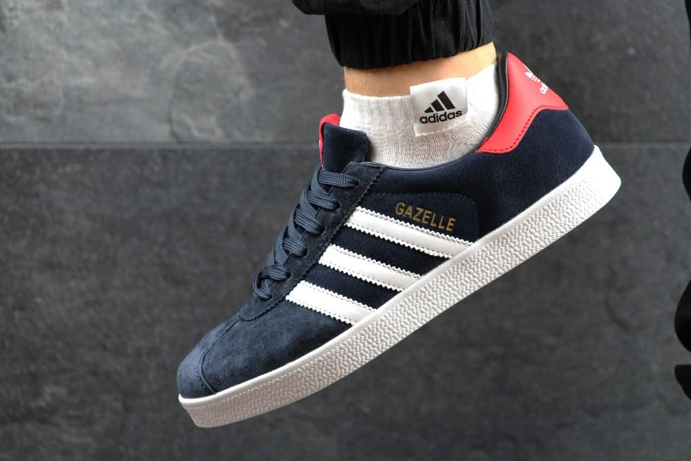 Кроссовки мужские adidas gazelle dark blue red фото №1