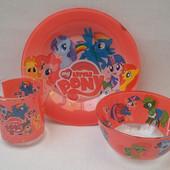 Детский набор посуды с пони из 3-х предметов