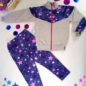 Тёплый костюм для девочки с начёсом размер на рост 92- 104  Малиновые звёзды