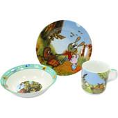 Детский набор посуды из фарфора Винни Пух и Пятачок 3 предмета