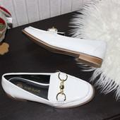 38 24см River Island Лакированные лоферы туфли балетки