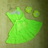 Ультра-яркое платье + подарок 3-4 года