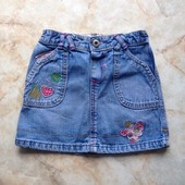 Яркая джинсовая юбка фирмы Indigo на возраст 2-3 года (реально до 4 лет)