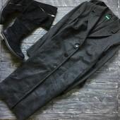 Длинное серое пальто ровного кроя Benetton, р-р М-Л