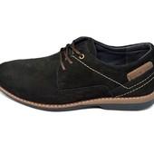 Туфли мужские нубук Multi-Shoes Mell черные