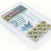 Набор подшипников и втулок для роликов Zelart 4447: 8 подшипников ABEC-7 + 8 втулок + 4 оси + 2 ключ