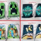 Сумка рюкзак для сменной обуви и одежды Майнкрафт Minecraft с крипером