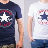 Футболка мужская хлопковая Converse белая и темно-синяя