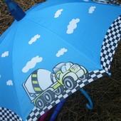 Новинка! Безопасный детский зонт для мальчика в складном пластиковом чехле!