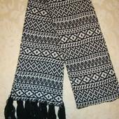 Широкий , длинный шарф с кисточками, скандинавский орнамент  Redoute