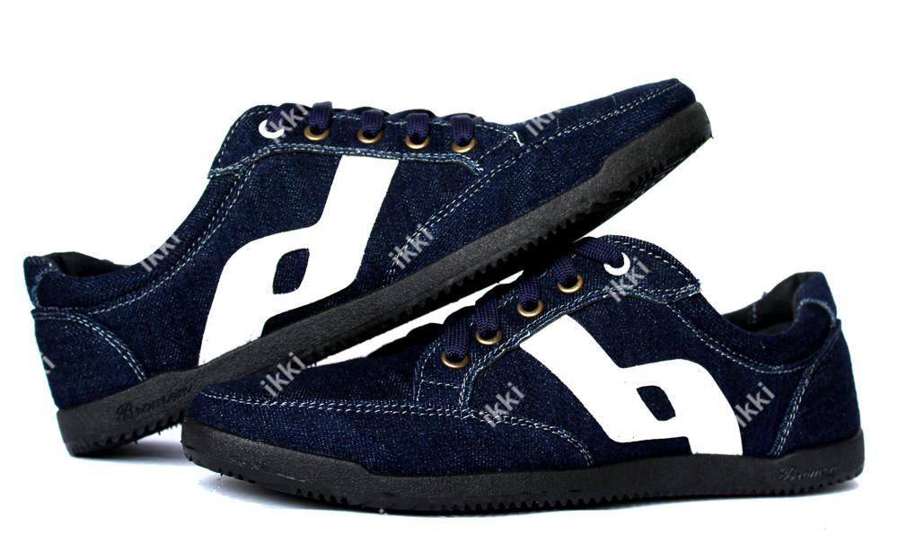 41 р Мужские джинсовые кроссовки синего цвета (БЛ-24сб) фото №1