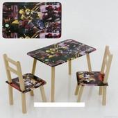 """Столик и два стульчика деревянные """"Трансформер"""" С 028"""