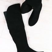 Зимние женские ботфорты, черные замшевые, на низком ходу, европейка