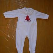9-12 мес., р. 74-80, велюровый человечек слип пижама La Redoute с тормозками