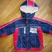 Фирменная куртка Mini Kids на флисе 104-110 см в отличном состоянии