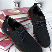 Мокасины на шнурках тёмно-синяя замша