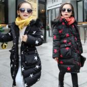 Теплое пальто куртка  для девочки со звездами зима