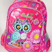 Школьный рюкзак для девочек ортопедическая спинка Сова малиновый 3469