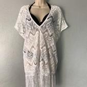 Белая пляжная сетка накидка туника кавер-ап кружевная с бахромой Victoria's Secret оригинал платье