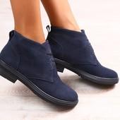 Женские полуботинки, демисезонные, темно-синие, замшевые, на байке, на черной подошве, на шнурках