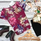 Женственная базовая блуза с крупным цветочным принтом  BL3525