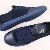 Мужские спортивные туфли, синие, комбинированные: натуральная кожа и нубук, на шнурках