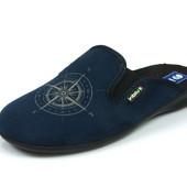 100-OG-8S-004 , Тапочки мужские домашние Inblu Инблу цвет - синий, материал - велюр, размеры 40-46