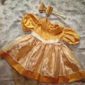 Золотое платье с бантиком для принцессы 12-18 мес