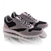 Замшевые кроссовки 15752 серые с черным