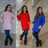 Пальто модное Елен, р. 134-158, нежно-роз, синий, красный, код ki-12547