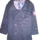 Стиляжное флисовое пальто- пиджак на 2-3  года