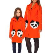 Mililook оранжевое пальто с натуральным мехом