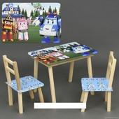 """Столик с ящиком и двумя стульями деревянные """"Робомашины"""" С 061"""
