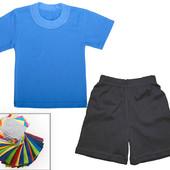 Комплект, футболка и шорты, для зарядки в сад и школу. ОПТ -5%